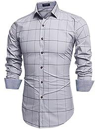 5d63caea995ee Coofandy Camisa a Cuadros Manga Larga para Hombre