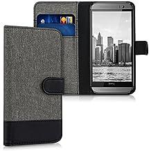 kwmobile Hülle für HTC One M8 / Dual - Wallet Case Handy Schutzhülle Kunstleder - Handycover Klapphülle mit Kartenfach und Ständer Grau Schwarz