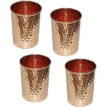 Rame puro martellato bicchiere per la guarigione ayurveda accessori per la tavola prodotto, set di 4, altezza 9,5 centimetri