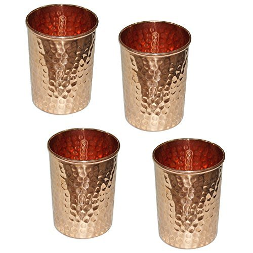 Zap Impex ® Reines Kupfer gehämmert Tasse für das Heilen Ayurveda-Geschirr Zubehör, Set 4, Höhe9,5 Cm