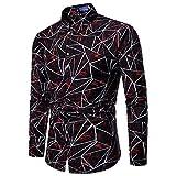 shemd Herren Shirt Langarmhemd Cowboy-Style Freizeit Hemd männer Kent-Kragen (Rot,2XL)