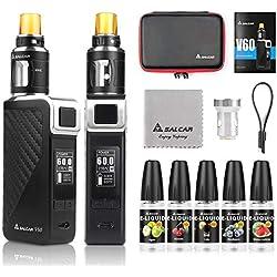 Salcar V60 Mod kit/Cigarrillo Electrónico Starter Set y 5 x 10ml E Liquid || V60 Mod Kit con 2200 mAh batería + 2.0 ml / 0.5ohmTop Refill Vaporizador (Negro)