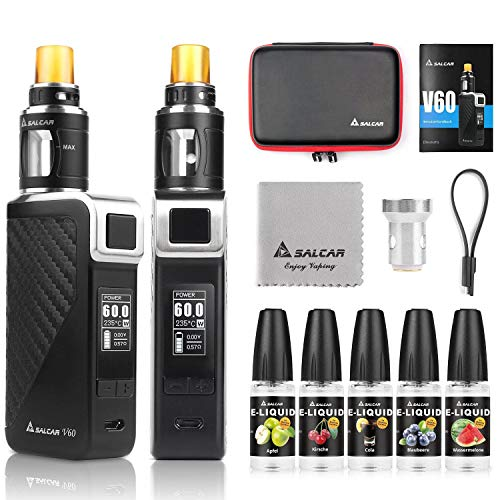 Salcar V60 Mod kit/Cigarrillo Electrónico Starter Set y 5 x 10ml E Liquid...