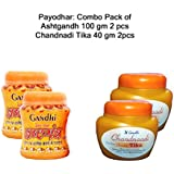 Payodhar Organic Combo Of Kesar Chandan(Kesariya Color),Pack Of 100 Gm 2 Pcs (Powder Form) And Chandanadi Tika (Paste Form) 40 Gm