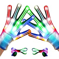 YHHK LED Gloves for Kids LED Shoelaces,Flashing Light Up Gloves Combination, Popular Kids Toys for Boys &Girls for Exquisite Light Show