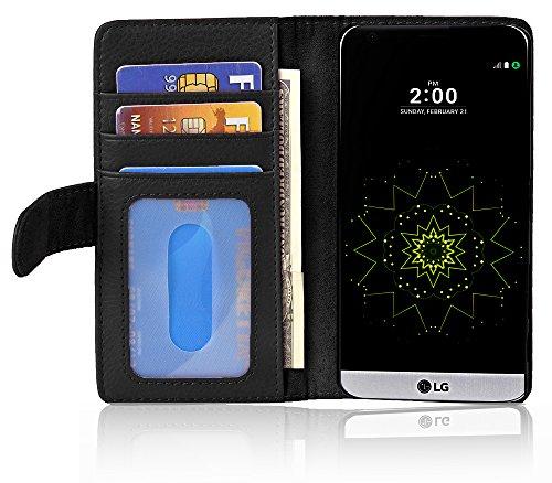 Cadorabo Hülle für LG G5 - Hülle in Oxid SCHWARZ – Handyhülle mit 3 Kartenfächern - Case Cover Schutzhülle Etui Tasche Book Klapp Style