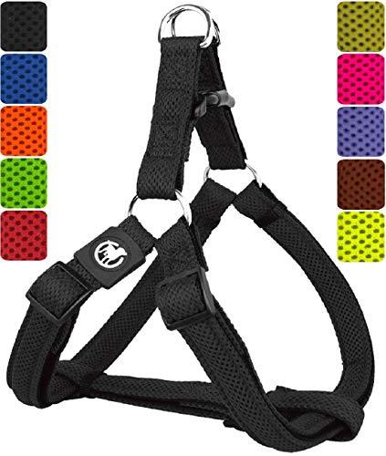 DDOXX Hundegeschirr Step-In Air Mesh | für große, mittelgroße, mittlere & kleine Hunde | Geschirr Hund | Katze | Brustgeschirr | Softgeschirr | Schwarz, M - 2,5 x 53-77 cm