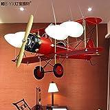 Fsd Kinder Cartoon Deckenleuchte Sepia Kinderzimmer Lampen Jungen Schlafzimmer Flugzeuge Kronleuchtern personalisierte creative Raumbeleuchtung L68*W71*H80cm