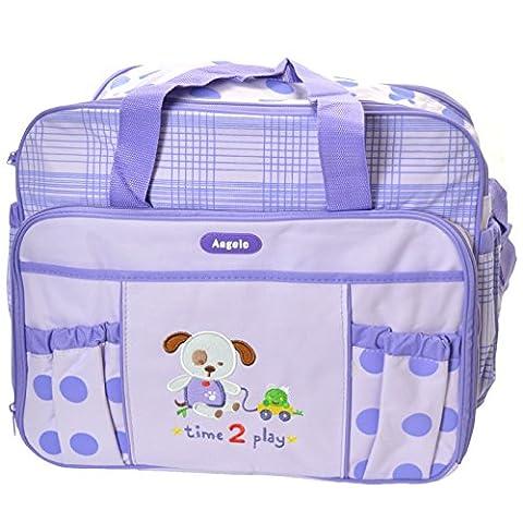 Angelo® Baby Changing bag Bottle Nappy Diaper Holder Travel Shoulder Backpack - Purple