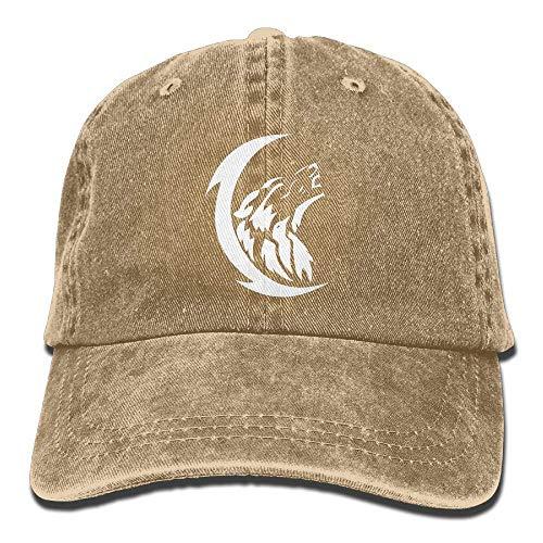 Sdltkhy Men's/Women's Adjustable Denim Jeans Baseball Caps Wolf Moon Trucker Cap Design24