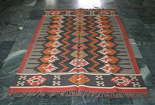 silkroude Große Kelim Teppich Handgewebt Traditionellen Persischen Wolle Jute Kelim Dhurrie 5'x 8' Füße (Jute 5')
