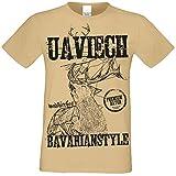 Kurzarm Trachten T-Shirt Herren : Hirsch Uaviech : Premium Bayer: Volksfest Oktoberfest Freizeitshirt Männer bis 5XL Farbe: Sand Gr: 3XL