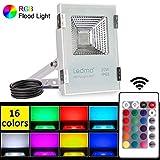 LEDMO 20W LED Strahler warmweiß RGB,Fluter Floodlight Licht Scheinwerfer Außenstrahler Wandstrahler Schwarz Aluminium 1000lm CRI>80 IP65 Wasserdicht AC 85 - 265V