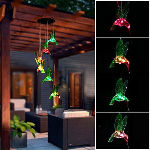 (Exsart Solarleuchte Windspiel, Außenleuchten solarbetrieben Farbwechsel Kolibri Windspiel für Hause/Party/Nacht Garten Dekoration Farbwechsel)