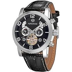 Forsining Men's Automatic Tourbillon Genuine Leather Brand Wrist Watch FSG165M3S4