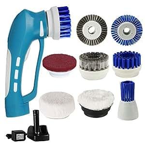 Spazzola Elettrica, Energia elettrica portatile Scrubber per pulire le macchie ostinate, fango o olio in cucina e bagno, con 8 accessori intercambiabili multifunzionale pennelli, blu