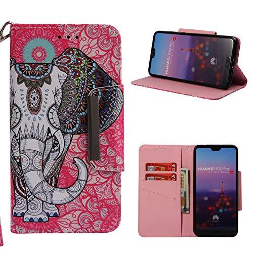 Klassikaline Huawei P20 Pro Hülle, PU Leder Flip Brieftasche / Wallet / Case / Tasche / Cover / Handytasche / Handy Zubehör / Lederhülle / Handyhülle mit Standfunktion Kredit Kartenfach Schutzhülle für Huawei P20 Pro - Elefant