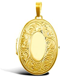 Jewelco London Ladies 9ct Yellow Gold Floral Carved Oval Locket Pendant