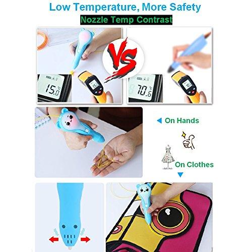 Friencity 3D Druck Stift für Kinder Erwachsene, PCL Niedrigtemperatur, wiederaufladbare 3D Doodler Drawing Drucker Stift mit LED-Licht, 10pcs Zeichnung Vorlagen und 10M PCL Filamente für Kunsthandwerk - 5