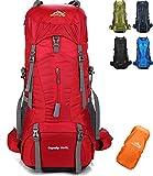 onyorhan 70L+5L Sac a Dos Voyage Trekking Randonnée Camping pour Homme Femme (Rouge)