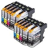 10x Cartucho de tinta Compatible con Brother LC223 Trabajar con Brother DCP-J562DW DCP-J4120DW MFC-J480DW MFC-J5620DW MFC-J5320DW MFC-J5600 MFC-J1100 MFC-J5600 Serie MFC-J 1170 DW MFC-J1180 DWT MFC-J680 DW DCP-4120DW 4Negro/2Cian/2Magenta/2Amarillo, con nuevos Chips