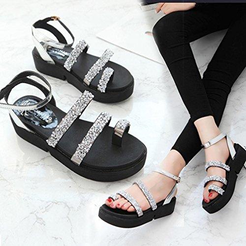 Transer® Damen Sandalen Blockabsatz Schwarz Silber Schön Bördeln Kunstleder+Kunststoff Ankle-strap Sandalen (Bitte achten Sie auf die Größentabelle. Bitte eine Nummer größer bestellen) Silber