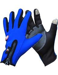 Guantes de escalada al aire libre hombres y mujeres Anti - Skid frío guantes de lana invierno caliente transpirable Touch Screen - Guantes al aire libre ( Color : Azul , Tamaño : L )