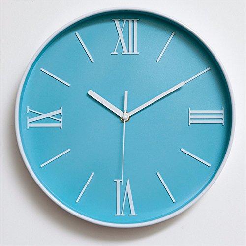 Y-aime.appendere l'orologio camera da letto salotto ufficio moda muto orologio al quarzo moderno creativo semplice orologio da parete (12 pollici),blu