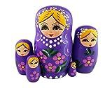 Winterworm 1Set von 5Blonde Girl lila Holz Stapeln, Kleinkinder Babuschka Matrjoschka russische...