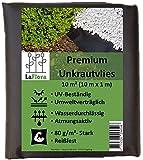 LaFlora - Premium Unkrautvlies 80 g/m² - 10 m² Gartenvlies wasserdurchlässig und reißfest - bekämpft Unkraut langfristig ohne Chemie - Pflanzenvlies für Ihren Garten und Blumenbeet