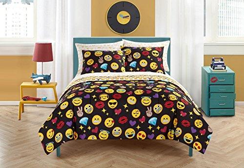 Emoji-Pals nk682005Emoji-Bling Bett in einer Tasche wendbar Tröster Set, schwarz, Queen -
