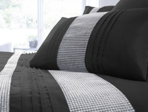 Black Single Duvet Cover Set – Diamante Bed Linen / Bedding WOW Factor