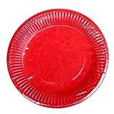 Hacoly 10er rund Pappteller bunt einweggeschirr hochwertig Einwegteller eckig Papierbesteck umweltfreundlich biologisch abbaubar kompostierbar für kindergeburtstag Party Hochzeit - 7 Zoll Rot