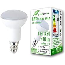 Bombilla LED greenandco® E14 R50 5W (corresponde a 35W) opaca 410lm 3000K (blanco cálido) 180° 230V AC, sin parpadeo, no regulable