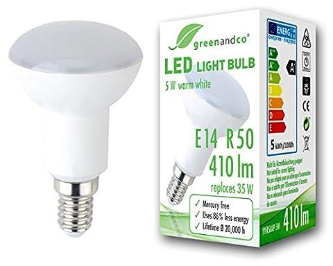 greenandco® LED Lampe ersetzt 35 Watt R50 E14 matt, 5W 410 Lumen 3000K warmweiß 180° 230V AC, nicht dimmbar, 2 Jahre