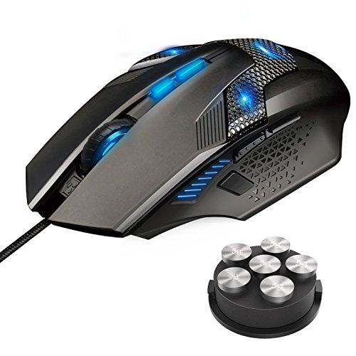 Mouse Gaming, TeckNet Raptor Pro Mouse da Gioco 7000 DPI, 8 Pulsanti Programmabili, Regolazione Peso e RGB, Pulsante di Accensione del Fuoco