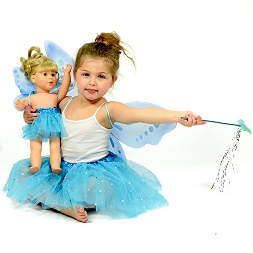 Kostüm Fairy Up Dress Princess - Turquoise Glitter Fairy Princess Dress Up - Pretend Play - Matching Dress for Girls and 18 Inch Dolls by The New York Doll Collection
