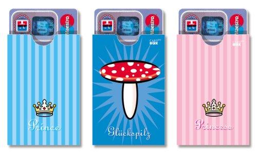 cardbox PRINCE set /// Motive: Prince / Glückspilz / Princess /// 3er SET /// Hüllen für Karten & Ausweise im Scheckkartenformat
