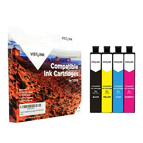 Vista Ink Compatible Ink Cartridge for Epson T0715 T0711 Black, T0712 Cyan, T0713 Magenta, T0714 Yellow 4/Pack