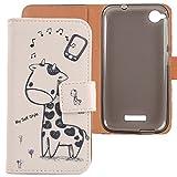 Lankashi PU Flip Leder Tasche Hülle Case Cover Schutz Handy Etui Skin Für HTC Desire 320 Giraffe Design