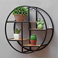 GOTOTOP Wall Mounted Metal Floating Shelf, Black Round Wall Display Unit with Shelves Art Wall Bookshelf Cubes Home Decor Storage Holder