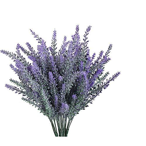 GKONGU Pure Lavendel Künstliche Blumen Romantische Beflockung Lavender Bouquet ideal für Home Decor Raum Garden Party Hochzeit Zeigen [4 Bündel]