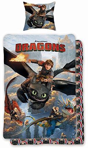 Bettwäsche Set Dragons Drachenzähmen leicht gemacht 135x200cm + 80x80cm, Linon, 7075, schwarz