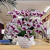 LOF-fei Kunstpflanze Orchidee Künstliche Blumen Simulation Phalenopsis Heim Dekoration Seide Tisch Zubehör für Büro oder & Außenbereich,lila weiß mit Topf 45x50cm