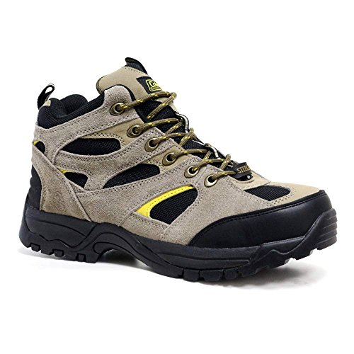 Mens New Leather Safety Steel Toe Cap Work Ankle Hiking Boots Trainers Shoe Size (UK 8.5 / US 9.5, Brown Black Yellow)