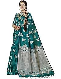 SAREE MALL Women'S Silk Saree With Blouse Piece (Teal Green_Free Size )
