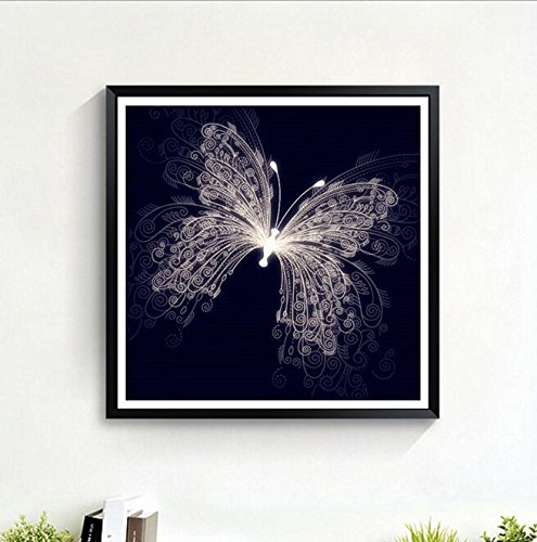RayMoon Black Butterfly Pattern DIY Handmade Full Drill Diamond Painting Set Resin Rhinestone Pasted Cross Stitch 50*50cm