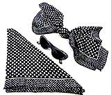 Evil Wear Damen 50er Jahre Set schwarz Tücher mit Sonnenbrille Polyester