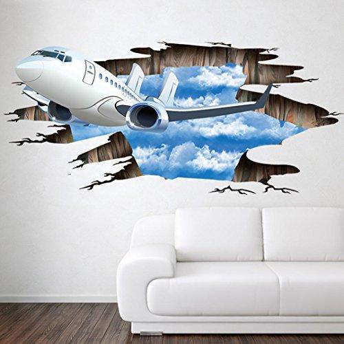 Wandaufkleber 3D-Stream-Boden Flugzeuge Muster,Hevoiok Modern Dekor Flugzeuge Wohnkultur Wandtattoo Aufkleber Wall Decals Tapete für Wohnzimmer Dekor Schlafzimmer Abnehmbar (Mehrfarbig) (3d Flugzeug)