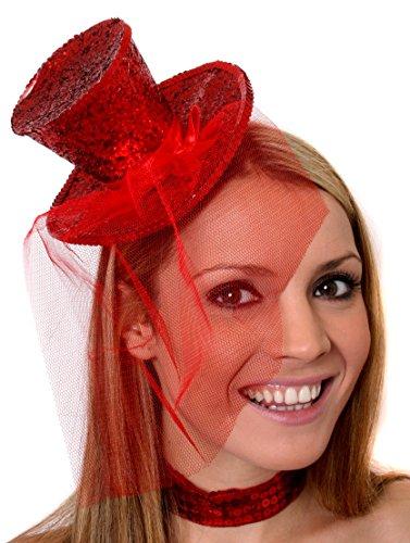 ILOVEFANCYDRESS Mini Glitter Zylinder Hut =MIT Netz AN EINEM HAARREIF= ERHALTBAR IN 8 SUPER GLITZERNDEN Farben = ZUBEHÖR Fasching Karneval Party = ROT (Sylvester Fancy Dress Kostüm)